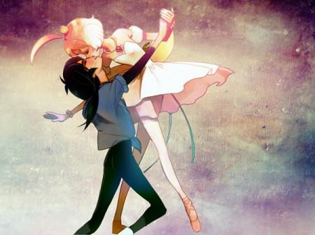 求几张女生亲吻男生的动漫唯美图片