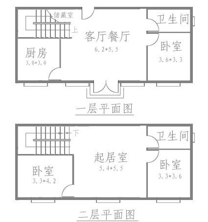 5米宽12.8米长70平方两层房屋设计图图片