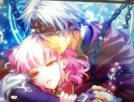动漫女主穿粉色衣服 粉头发 男主有紫头发 白头发 关键字铁链图片
