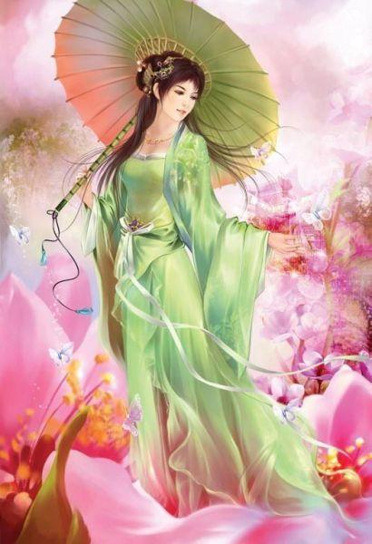 手绘古装的撑伞美女图片