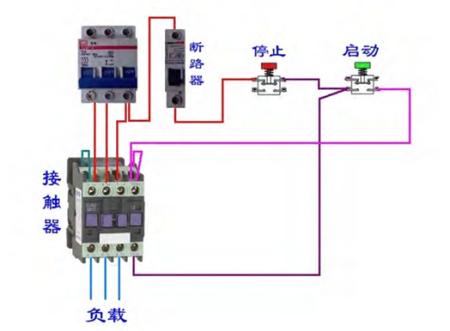 蒸饭车接交流接触器和带指示灯的按钮开关 一开一闭 如何接法带上实物图片