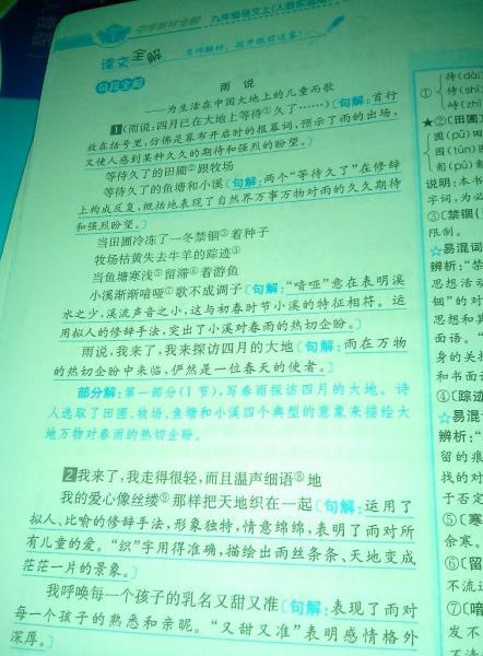 雨说 这篇课文的翻译 谢谢图片