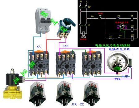 电接点表与接触器配合控制电磁阀调节空压机气压图片