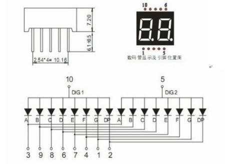 2位数码引脚图_图中是一个共阳极的2位数码管显示器,求高手解释一下,图中引脚dig1