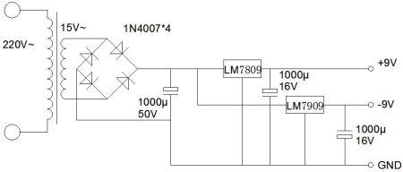 同问 求220v输入,正负9V输出的直流电源电路图图片