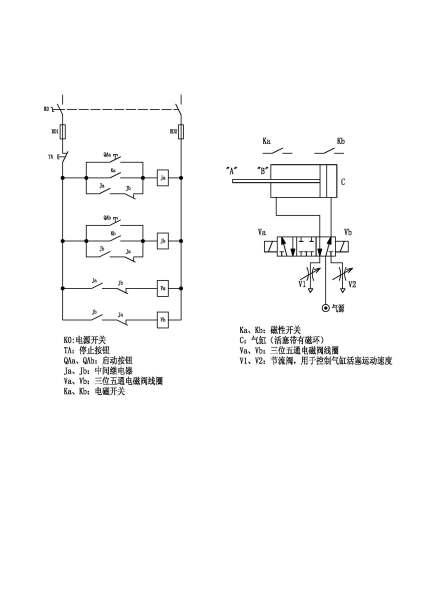 用继电器,磁性开关和双线圈电磁阀来控制一个气缸的限位动作的电路图图片