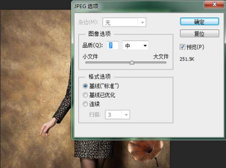 ps保存jpg格式 品质高文件大小低图片