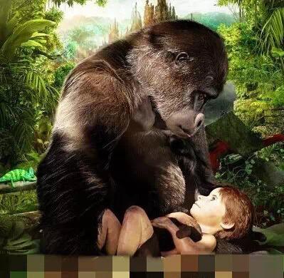 大猩猩和小男孩 蓝衣服小女孩