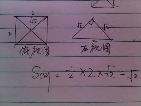 已知某几何体的俯视图是边长为2的正方形及其对角线正视图与侧视图是图片