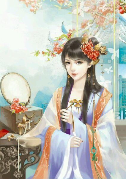 古代美女梳妆打扮早晨时装打扮的图片