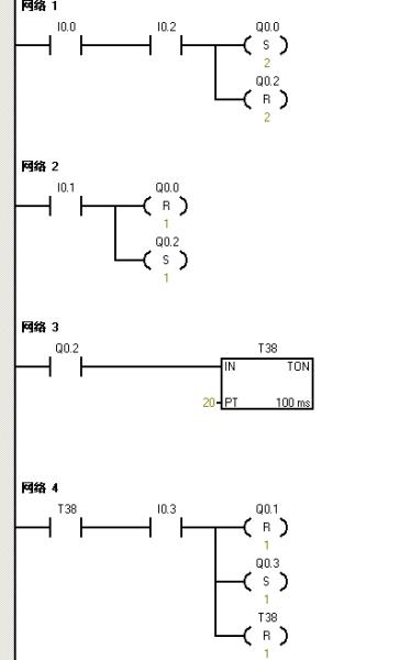 求plc控制梯形图两个气缸工作,四个磁性开关,两个双电控电磁阀工作?图片