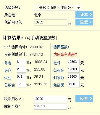 北京地区,税后到手10000,请问税前工资是多少