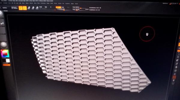 一个有厚度的铁网,利用zb做出高模,然后用maya烘焙法线贴图 高清图片
