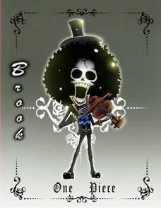 求海贼王布鲁克q版的图要拿着吉他或小提琴
