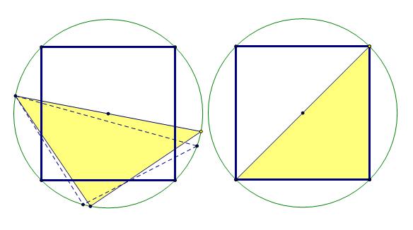 在一个边长为一的正方形里放一个三角形,证明其中一边图片