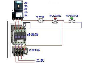 接触器加热过载怎样自锁实物接线图图片 接触器实物接线图,交流接触
