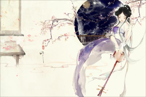 白衣女子撑伞古风图