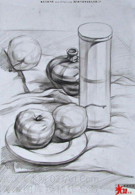 谁有 苹果加圆柱 的 素描图片图片