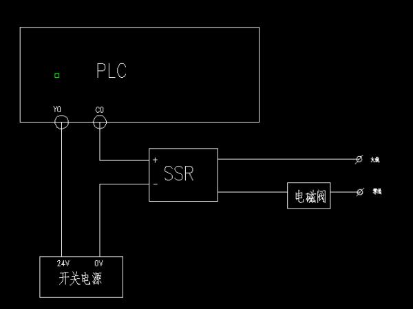 台达plc通过固态继电器控制电磁阀的接线图?图片
