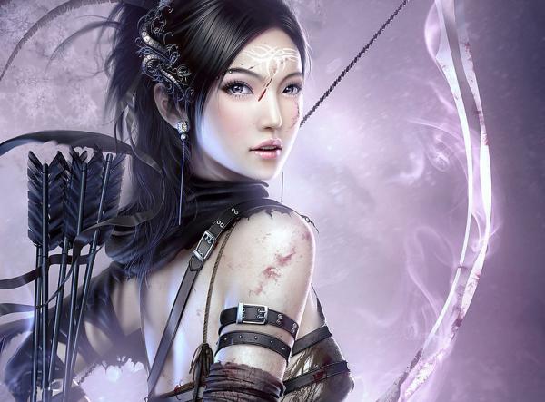 搜一张女子穿军装的古代手绘图