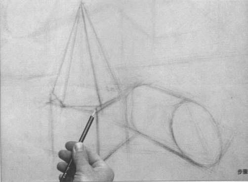 铅笔画石膏几何体素描图片步骤一:构图定位-素描入门画几何体怎样