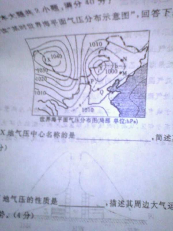 读某时世界海平面气压分布示意图图片