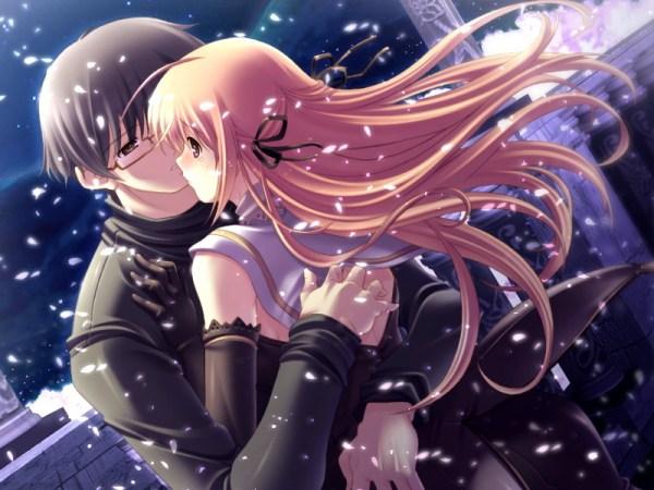 求一张动漫男女在雪中接吻的图片