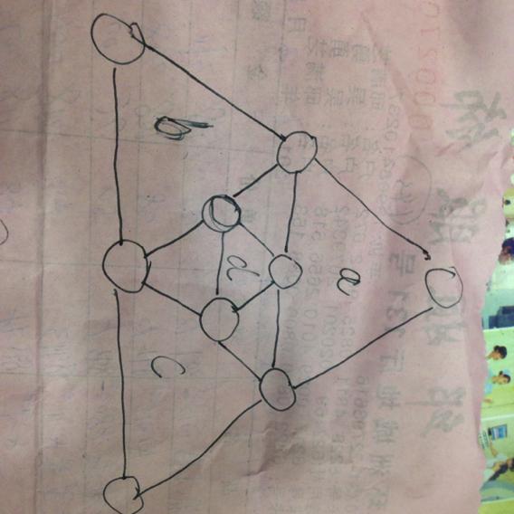 b.c.d这4个三角形上的数字之和都等于17.数字不可重复使图片