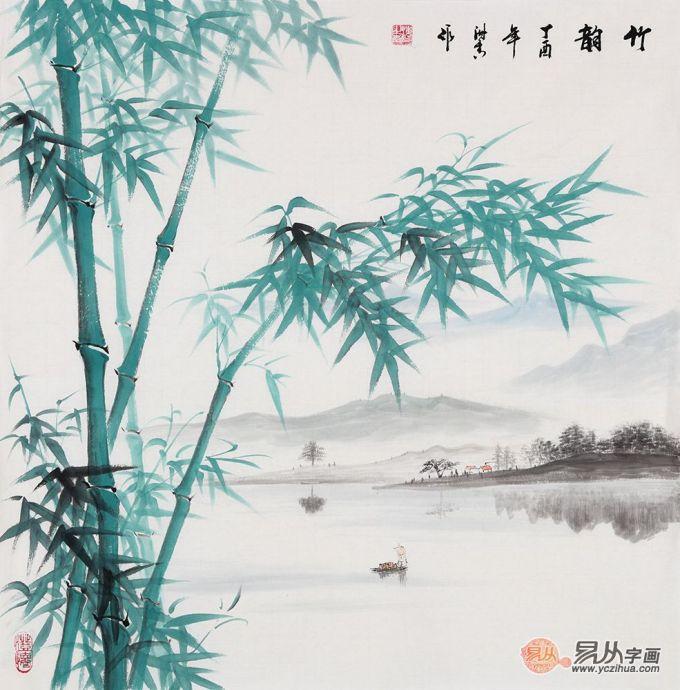 画家刘海青善画竹,他的竹子山水画青翠雅致,笔墨清雅,竹子挺拔,一派