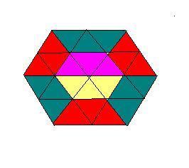先连三条对角线,再以连如图的六条边的中点,然后把3个三角形组成一个图片