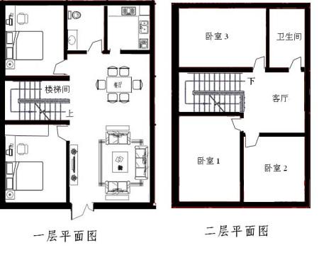 农村二层楼长10米宽6米房屋设计图图片