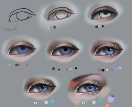 谁发下二次元眼睛的 画法 图片教程